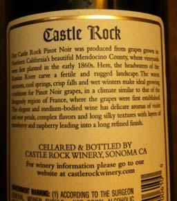 Castle Rock Pinot Mendocino bk