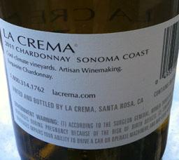 La Crema 2011 Sonoma Chard bk